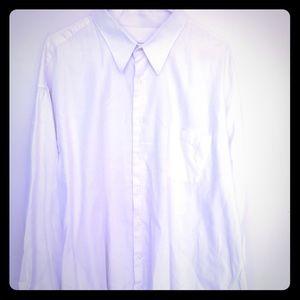 Men's white button down long sleeve shirt